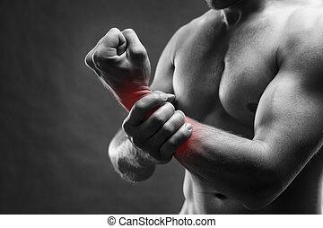 gris, douleur, corps, main, musculaire, culturiste, poser, fond,  mâle, beau