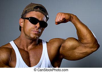 gris, el suyo, gafas de sol, plano de fondo, body., muscles...