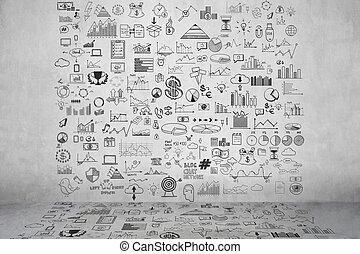 gris, empate, elementos, finanzas del dinero, empresa / negocio, concreto, garabato, gráfico, moneda, mano, analytics, concepto, ganancias, gráfico, icono, wall., banco