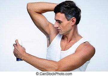 gris, encima, desodorante, Plano de fondo, Utilizar, hombre,...