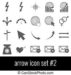 gris, ensemble, arrow., icônes, arrière-plan., 2., blanc, icône