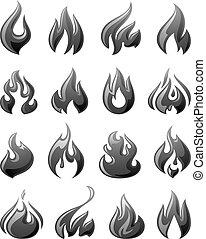 gris, ensemble, icônes, brûler, Flammes,  3D