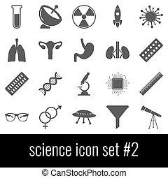 gris, ensemble, icônes, science., arrière-plan., 2., blanc, icône
