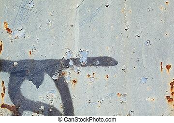 gris, entiers, peler, cadre, métal, peinture, graffiti, rouille