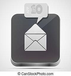 gris, eps10, app, vecteur, courrier, icône, bulle, speech.