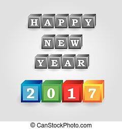 gris, eps10, couleur, briques, nombres, année, nouveau, 2017, message, heureux
