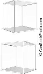 gris, eps10, illustration, quatre, verre, vecteur, cubes, transparent
