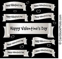 gris, eps10, valentin, ruban, courbé, bannières, jour, argent