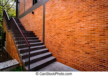 gris, escalier, béton