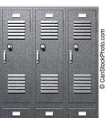 gris, escuela, armarios, frente