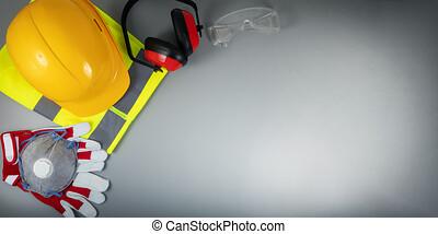 gris, espace, articles, industrie, travail, construction, sécurité, fond, copie