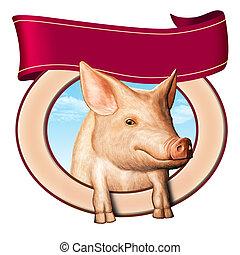 gris, etikett