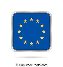 gris, eu., button., métallique, drapeau, carrée, brillant