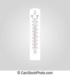 gris, extérieur, balances, illustration, fahrenheit, celsius, fond, thermomètre