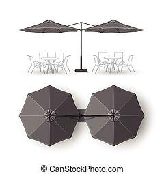 gris, extérieur, barre, pub, salon, parapluie, café, rond