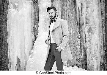 gris, extérieur, manteau, portrait, homme, beau