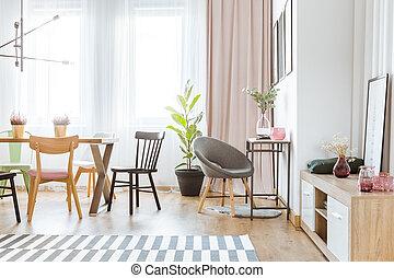 gris, fauteuil, dans, salle manger