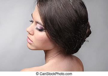 gris, femme, séduisant, fond, soin peau, portrait