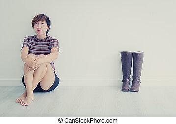 gris, femme, tonalité, chaussures, séance, plancher, botte, long, asiatique, vendange, intelligent