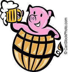 gris, fläsk, in, trumma, med, öl mugg