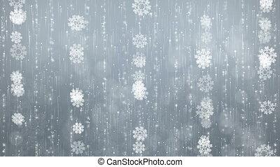 gris, flocons neige, arrière-plan.