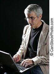 gris, fonctionnement, ordinateur portable, cheveux, homme affaires, personne agee