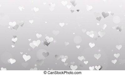 gris, fond blanc, cœurs