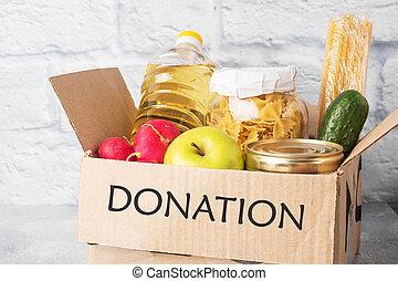 gris, fondo., box., recogido, alimento, copia, donación, space.