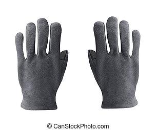 gris, gants, isolé, polaire