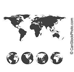 gris, globe, icônes, planisphère