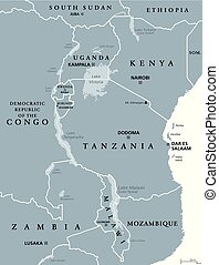 gris, grand, africaine, lacs, carte
