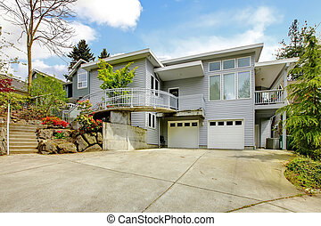 gris, grande, moderno, exterior casa, con, inmenso,...