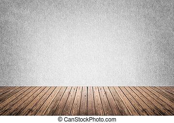 gris, habitación, piso, pared, madera, vacío