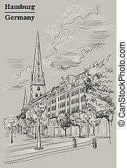 gris, hambourg, petri, église, sankt, hauptkirche, vue