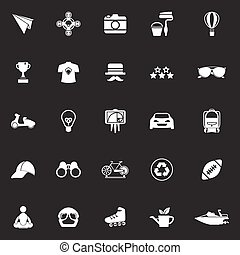 gris, hipster, fond, icônes