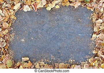 gris, hojas, encuadrado, vacío, espacio