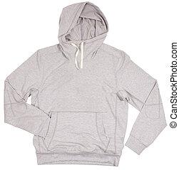 gris, hoodie, sweater., aislado, blanco, fondo.