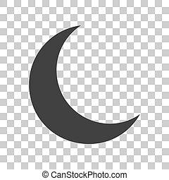 gris, illustration., lune, sombre, arrière-plan., signe, transparent, icône