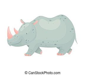gris, illustration, rhinocéros, arrière-plan., vecteur, coming., blanc