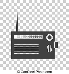 gris, illustration., signe, sombre, arrière-plan., radio, transparent, icône