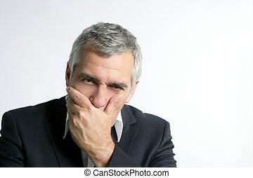 gris, inquiété, cheveux, compétence, homme affaires, personne agee, triste