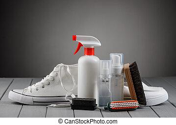 gris, kit, plano de fondo, limpiador, shoes