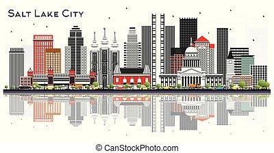 gris, lac, sel, isolé, bâtiments, horizon, utah, ville, ...