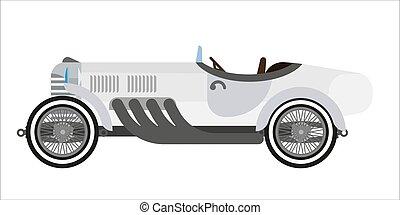 gris, long, voiture d'époque