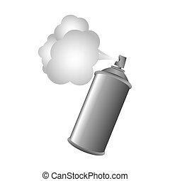 gris, métal, peinture, pulvérisation, aérosol, fumée