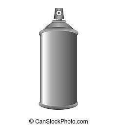 gris, métal, pulvérisation, boîte aérosol, bouteille, 3d