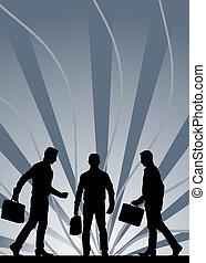 gris, maletín, contra, siluetas, proceso de llevar, fondo ...