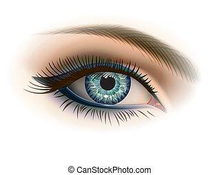 gris, maquillage, oeil, femme