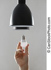 gris, mené, plancher, lumière, colour., lampe, arrière-plan noir, ampoule, changer
