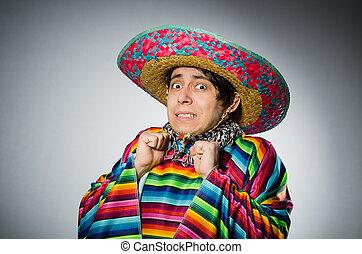 gris, mexicano, vívido, contra, poncho, hombre